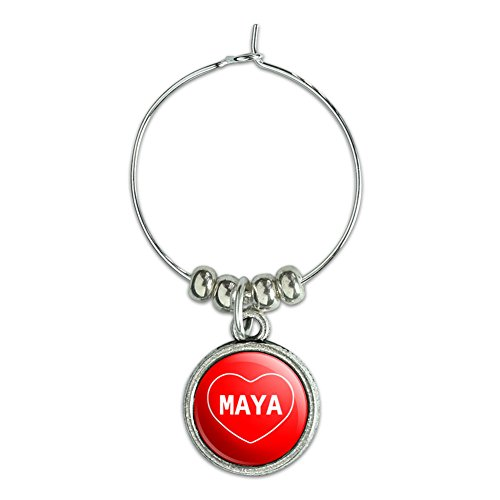 Wine Glass Charm Drink Marker I Love Heart Name L-M - Maya