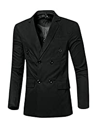 uxcell Men Notched Lapel Flap Pockets Double Breasted Blazer