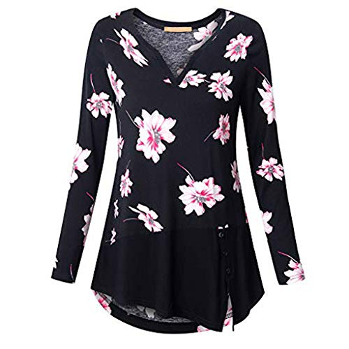 Xinantime Women Loose T Shirt Ladies Print O-Neck Button Pullover Tops Plus Size Long Sleeve Fluffy Dress Blouse (3/4 Genuine Fur Rabbit Coat)