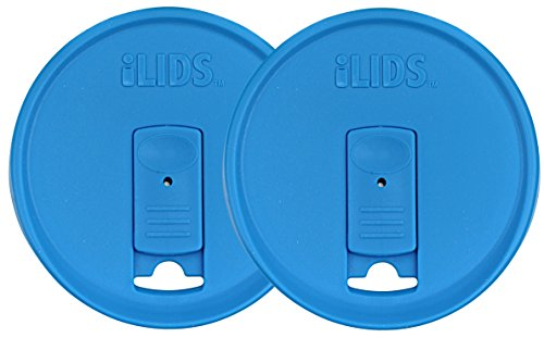 ILids Mason Jar Drink Lid, Regular Mouth, Sky Blue, 2-Pack