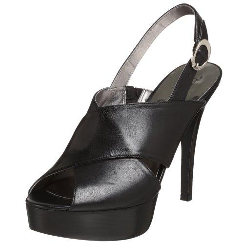 Guess Leather Platforms - GUESS Women's Paradisa Open Platform Sandal,Black,10 M