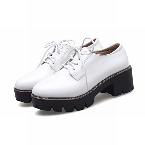 Mee Shoes Damen chunky heels Plateau Schnürhalbschuhe Weiß