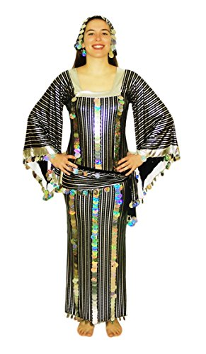 Women Belly Dance Folkloric Baladi Egyptian Galabeya Dancing Dress Costume (XXL, Black& -