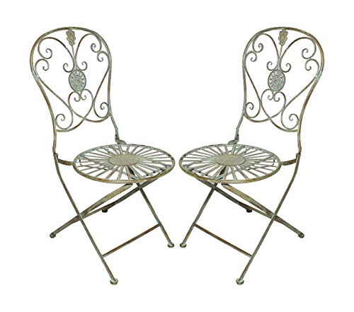 - PierSurplus Folding Metal Bistro Chair w/Scrolling Heart & Peacock Tail Motif, Set of Two Product SKU: PF223586