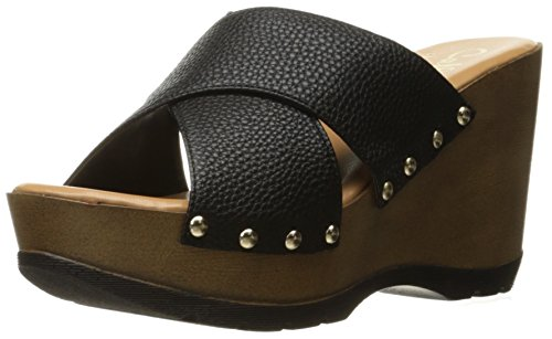 Black Wedge Sandal Callisto Women's Leather Cinamon qFwfRfI