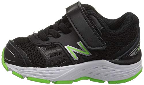New Balance Boys' 680v5 Hook and Loop Running Shoe Black/RBG Green 2 XW US Infant by New Balance (Image #5)
