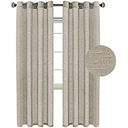 H.VERSAILTEX Ultra Elegant Natural Linen and Poly Mixed Soft Semi Sheer Curtains for Bedroom/Nickel Grommet Window Drapes (52 by 96 Inch Long,Set of 2,Taupe)