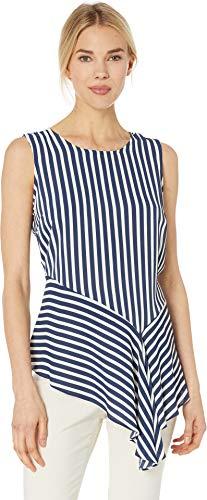 Vince Camuto Womens Sleeveless Asymmetrical Drape Hem Modern Stripe Blouse Ink Blue ()