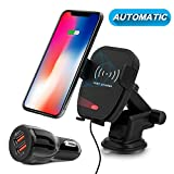 Wireless Car Charger, Detuosi Automatic Infrared Car Wireless Charger, 10W Fast Charging Car Phone Mount for Samsung Galaxy S9+/S9/More 7.5W Fast Charging for Iphone 8/8plus/X [QC3.0/3.1A Car Charger]