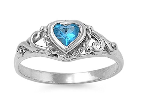 Blue Simulated Topaz Cubic Zirconia Filigree Heart Petite Ring 925 Sterling Silver Size 3