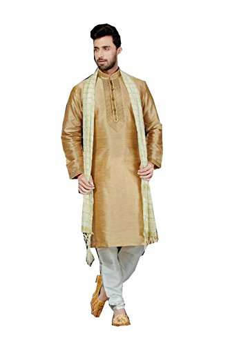 Jaipur Collections Mens Kurta Pajama Wedding Art Dupion Brown India Party Wear Set Of 4 by Jaipur Collections