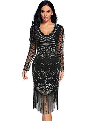 Women's Vintage 1920s Sequin Floral Midi Gatsby Flapper Prom Club Dress(Black-3,M)]()