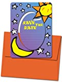 8 Magnetic Invitations - Save the Date (Sun & Moon) - Magnet Frames and Orange Envelopes Included
