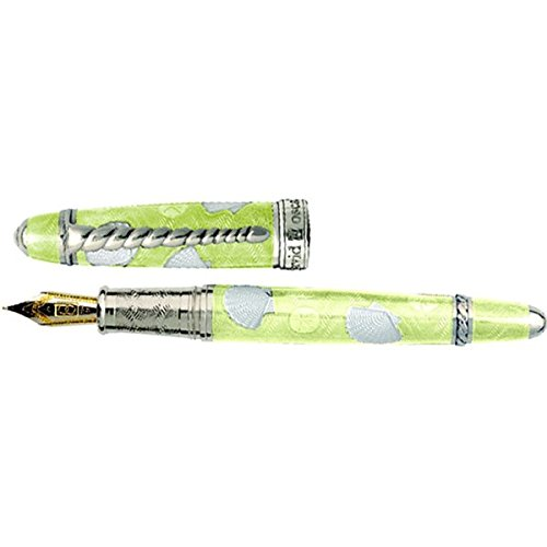 David Oscarson Seaside Sunshine Yellow and White Broad Enamel Fountain Pen