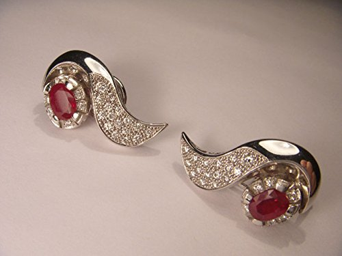 Beautiful 18K White Gold Ruby Rubies Pave Diamond (Gold Ruby Pave Diamond)