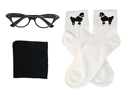 50s Costume Accessory Set Chiffon Scarf, Cat Eye Glasses and Bobby Socks for Women, Black -