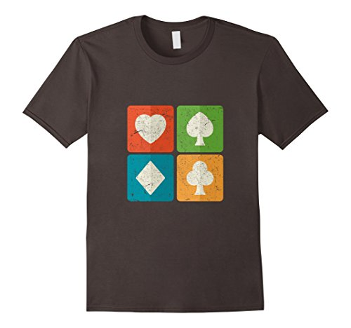 Men's Vintage Playing Cards Symbols Suits T-Shirt Medium Asphalt