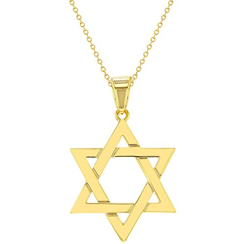 In Season Jewelry 18k Gold Plated Religious Judaism Jewish Star of David Necklace Pendant 18