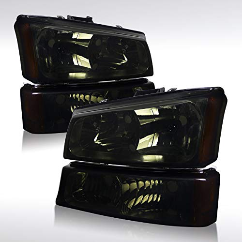 Autozensation For Chevy Silverado Crystal Smoke Headlights+Tint Front Bumper Lamps Pair