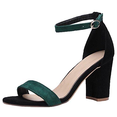 Asian RAZAMAZA Semplice Caviglia 37 Scarpe Tacco Cinturino Estate Sandali Green Donna Size alla rrnIq517f