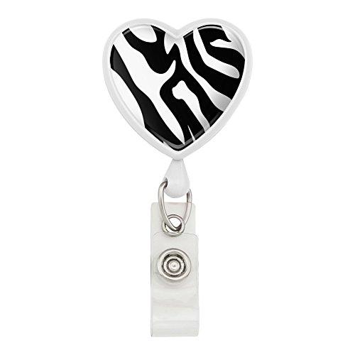 Wht Zebra - Zebra Print Black White Heart Lanyard Retractable Reel Badge ID Card Holder - White