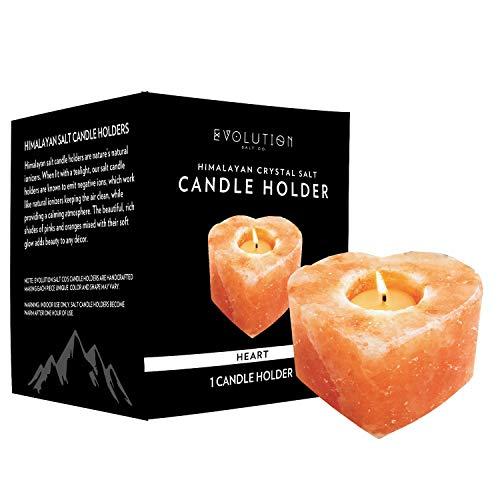 - Evolution Salt - Heart Tealight Himalayan Salt Candle Holder 1 Hole
