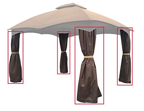 APEX GARDEN 4 Poles Brown Corner Curtain Set for Lowe s 10 x 12 Gazebo Model GF-12S004BTO GF-12S004B-1 Corner Curtains Only