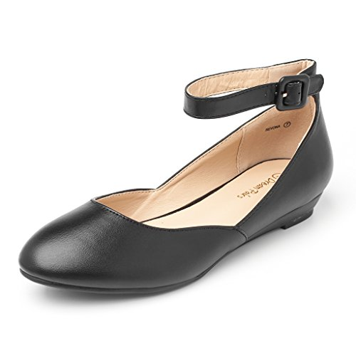 Dream Pairs Women's Revona Black Pu Low Wedge Ankle Strap Flats Shoes - 10 B(M) (Black Pu Women Shoes)