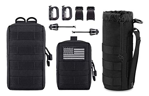 Antrix 3 Pcs Durable Nylon Tactical Military Molle Pouches Multi-Purpose Compact Water-Resistant Utility EDC Pouch Organizer+ Molle Water Bottles Pouch Carrier Bag for Tactical Backpack Tactical Gear