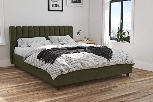 Novogratz Brittany Upholstered Platform Bed Frame, Green Linen, Full