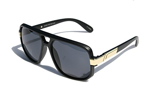 Classic Square Frame Plastic Flat Top Aviator with Metal Trimming Sunglasses (Matte Black Gold, Black)