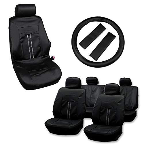 OCPTY Car Seat Cover, Universal Seat Cushion w/Headrest/Steering Wheel Cover/Shoulder Pads 100% Breathable Automotive Accessories with Durable Leather for Most Cars(Black)