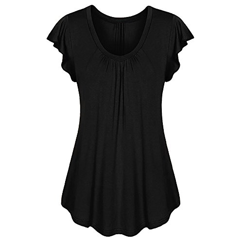 (TWGONE Short Sleeve Tunics for Women Plus Size Irregular Solid Row Pleats Ruffled Ruched O Neck T-Shirt Tops(XXXX-Large,Black))