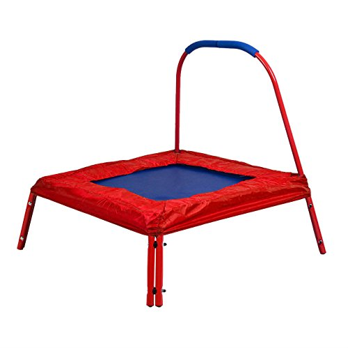 Red-Square-Jumping-Trampoline-3-x-3-FT-Kids-w-Handle-Bar-and-Safety-Pad-Top-Selling-Item