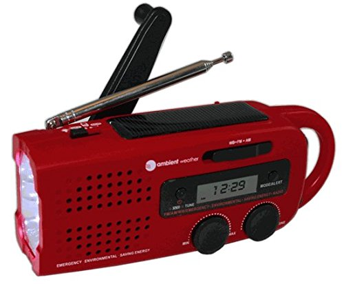 Ambient Weather Wr 299 Compact Emergency Solar Hand Crank Weather Alert Radio