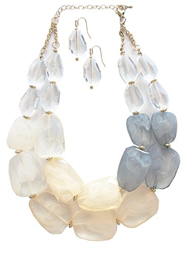 Secret for Longevity Neutral Earth Tone Ivory Beige White Clear Quartz Honey Amber Grey Frosted Gray Resin Chunky Statement Necklace Earring Set ()
