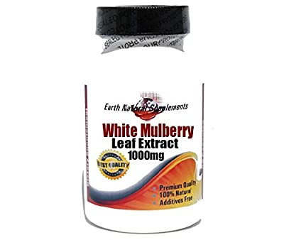 White Mulberry Leaf Extract 1000mg / 1% Alcaloids / 15% Flavonoids * 200 Capsules 100 % Natural - by EarhNaturalSupplements