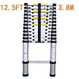 TUOGAO EN131 Telescoping Ladder Aluminum Telescopic Extension Ladder Folding Step Ladder Extends to 12.5 Ft