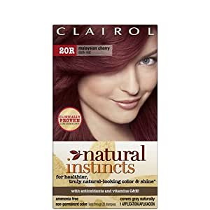 Clairol Natural Instincts Hair Color 20r, Malaysian Cherry, Dark Red 1 Kit
