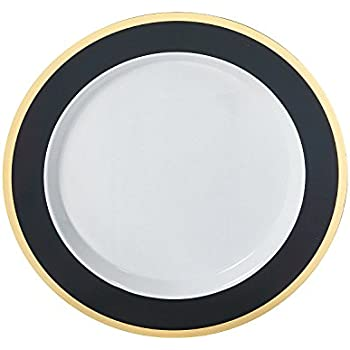 Black \u0026 Gold Border Premium Plastic Dinner Plates  sc 1 st  Amazon.com & Amazon.com: Black \u0026 Gold Border Premium Plastic Dinner Plates ...
