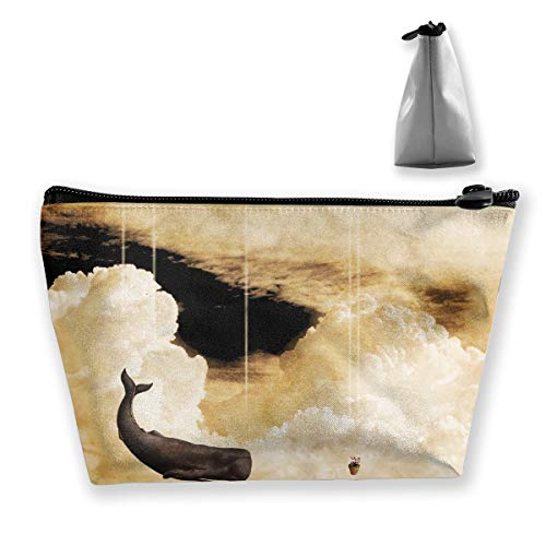 (Trapezoidal Cosmetic Bags Makeup Toiletry Pouch Abstract Clouds Flying Whale Travel Storage Bag Phone Purse)