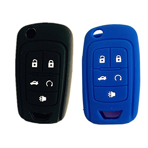 New Black and Blue 5 Buttons Silicone Cover Holder Key Jacket for Chevrolet Camaro Cruze Volt Equinox Spark Malibu Sonic Flip Remote Key Case Shell Cover