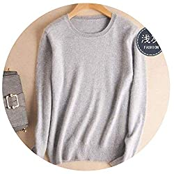 Spyman Autumn Winter Cashmere Cotton Blended Knitted Women Sweaters And Pullovers Jersey Large Gray