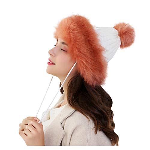 TOTAMALA Women Cute Keep Warm Winter Hats Knitted Wool Hemming Hat With Hair Ball Skullies Beanies