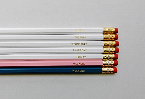 Engraved Pencils Days of The Week Pencil Set Gold Foil Pencil Set Engraved Pencils Girl Boss Lady Boss Beautiful Pencils Gift for Her Gift for Boss