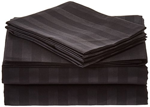 Elegant Comfort 1500 Thread Count -DAMASK STRIPES- Egyptian Quality Luxurious Silky Soft WRINKLE & FADE RESISTANT 4 pc Sheet set, Deep Pocket Up to 16