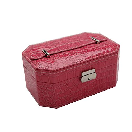Pu Jewelry Box European Style Octagon Jewelry Storage Box Cosmetic Box with Mirror for Holding Jewelry,Rose