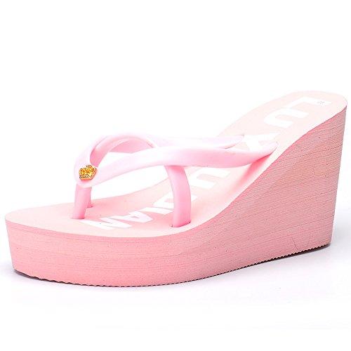 Dark Per Estate Dimensioni cn39 Beach colore Femminile Light Scarpe Pink Donna Donne uk6 Eu39 Spesse Pink Le Da Alti Talloni Pantofole Haizhen nvYqHaH6