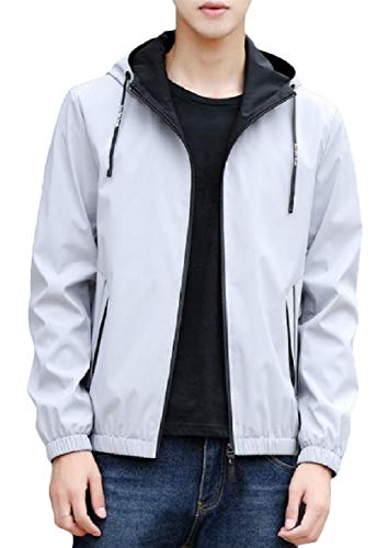 Hood Pocket XINHEO Plus Men Grey Outwear Sleeve Zipper Lounge Long Size Coat Zqx7aAw
