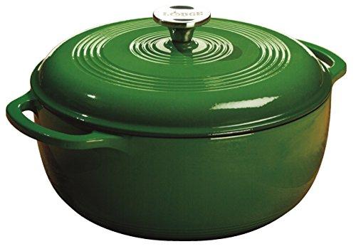 Lodge 6 Quart Enameled Cast Iron Dutch Oven. Green Enamel Dutch Oven (Emerald Green)